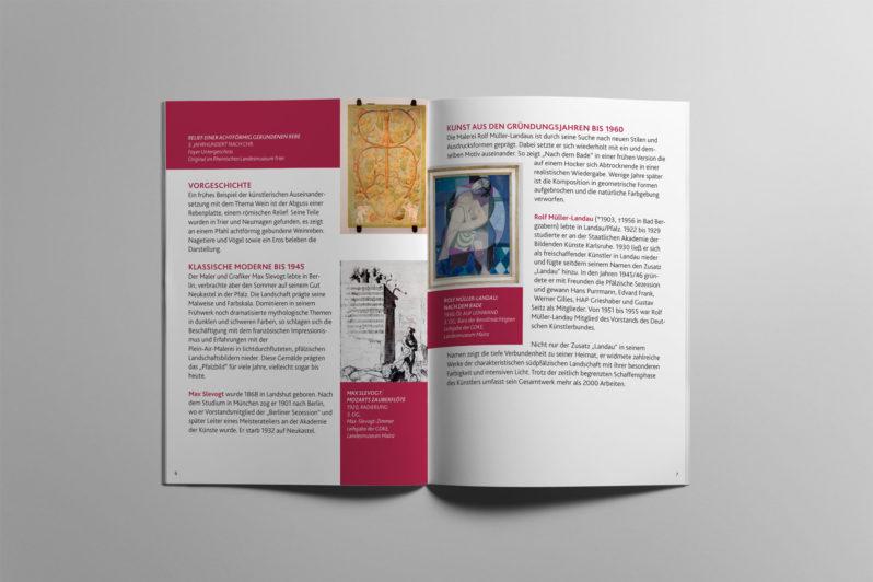 Broschüre für eine Kunstausstellung des Bundeslandes Rheinland-Pfalz